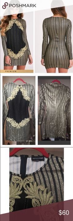 """Flash Sale🌈Gold Premium Appliqué  Bodycon Dress """"Pretty Little Thing"""" is the name brand. Purchased from U.K. Site. It took 3 months to get to me only to not fit:/ (Stretchy material) This gorgeous dress needs a new home asap. Selling to get what I paid for it. Offers only have limited wiggle room. Sold Like new, and sold as is without tags. Minor signs of wear if any only worn once when I tried it on. Includes back zipper. Fits a true medium or large 6/8. Do not purchase if you are a xs or…"""