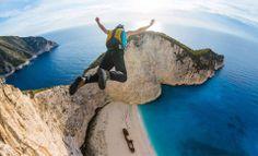 Base-jumping at Navagio beach in Zakynthos island, Greece. Literally #1 thing on my bucket list.