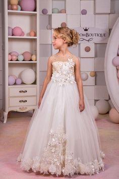 Ivory and Beige Flower Girl Dress / http://www.deerpearlflowers.com/flower-girl-dresses-shops/