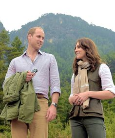 April 2016:  TRH the Duke and Duchess of Cambridge pose for a photo during their trek in Bhutan.