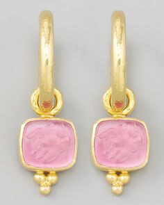 Pink Pegasus, Goddess & Moon Intaglio Earring Pendants by Elizabeth Locke at Neiman Marcus.
