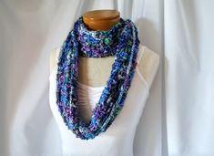 Blue crochet cowl Women's loop scarf Circle scarf Christmas party gift fashion wrap Sapphire purple green Boho style neckwarmer Layered look