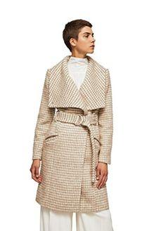 Mango Women's Wide Lapel Wool-Blend Coat, Medium Brown, L