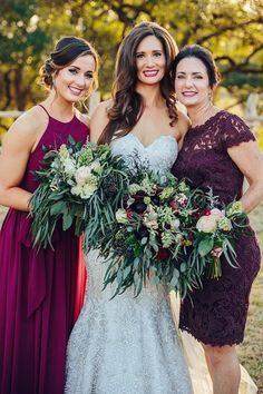 Greenery wedding bouquet - overflowing bouquet for bride + bridesmaids {Copper & Birch}