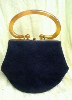 7f75da79c06 Vintage Morris Moskowitz Blue Velvet Purse Bolsas Vintage