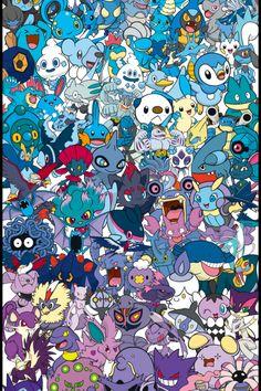 Pokemon Color Spectrum (Blue to Purple) By William Carlin aka gogoatt Baby Pokemon, Pokemon Pins, Pokemon Birthday, Pikachu, Naruto Art, Anime Naruto, Pokemon Zoroark, Pokemon Backgrounds, Doodle Background
