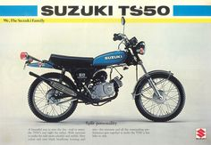Suzuki A Brochure 1976 Front 50cc Motorbike, Mini Motorbike, Motorcycle Dirt Bike, Motorcycle Posters, Mini Bike, Enduro Vintage, Vintage Moped, Vintage Cycles, Motos Suzuki