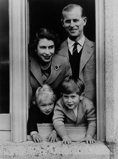 The Queen and Prince Phillip with two of their four children, Charles and Anne