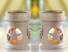 2 Oil Warmers Texas Star Natural Stone Country Western Tea Light Candle Burners  $8.00 at Critter Creek Ranch in Texas~ Great American Small Online Business!