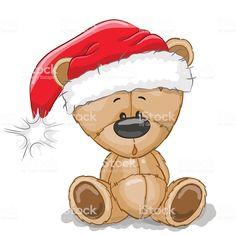 Bear in a Santa hat. Cute Cartoon Teddy Bear in a Santa hat on a white background royalty free illustration Tatty Teddy, Christmas Graphics, Christmas Clipart, Christmas Printables, Christmas Drawing, Christmas Paintings, Christmas Art, Blue Nose Friends, Cute Friends