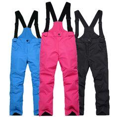 -35 Children Snow bibs Skiing suit pants outdoor snowboarding Trousers  waterproof thermal Winter Ski Suspended 3d541baef
