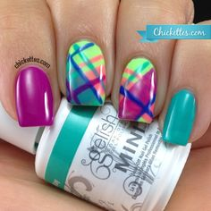 Plaid Nails Using the Gelish Colors of Paradise - Chickettes