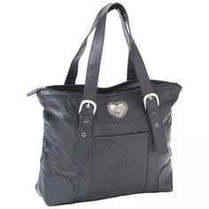 Genuine Lambskin Leather Tote with Heart Medallion $35