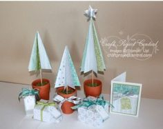 Trio of Trees Holiday Gift Display! www.craftprojectcentral.com This sweet Holiday Gift Display comes together quickly, and uses just one package of designer series paper! Plus, with all the leftover designer series paper pieces, you'll be able to add a bunch more custom little gift boxes – they're fun and addicting to make! You can frame the card to make a great mantle display, or use it as it's displayed for a special gift to give someone!