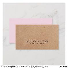 Modern Elegant Rose PRINTED Kraft Paper Consultant Business Card