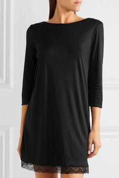 Hanro - Eleonora Lace-paneled Modal And Silk-blend Jersey Nightdress - Black - x small