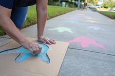 Make a sidewalk path to the Book Fair by drawing simple dinosaur footprints with colored chalk. Toolkit keyword: FOOTPRINT Make a sidewalk path to the Book Fair by drawing simple dinosaur footprints with colored chalk. Dinosaur Birthday Party, 4th Birthday Parties, Dinasour Birthday, 4th Birthday Party For Boys, Elmo Party, Mickey Party, Party Fiesta, Third Birthday, Birthday Hair