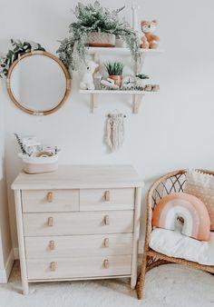 and baby aesthetic Boho baby nursery Baby room – Boy Room 2020 Nursery Nook, Diy Nursery Decor, Rustic Nursery, Baby Room Decor, Boho Nursery, Girl Nursery Art, Nursery Ideas, Nursery Side Table, Bunny Nursery