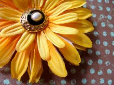 "Yellow Hair Flower ""Don't Fence Me In"" by ChatterBlossom on Etsy"