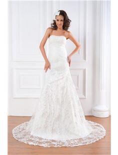 Charming A-line Strapless Lace Chapel Train Beach Wedding Dress