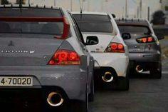 Clean mitsubishi evo line up