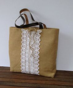 Jute and cotton Lace tote bag genuine leather staps by Apopsis