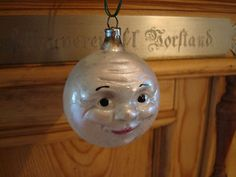 German Glass Christmas Ornament ....  Moon Antique Christmas Ornaments, Vintage Antiques, German, Santa, Moon, Decorations, Night, Holiday Decor, Ebay