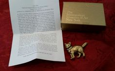 MMA Cat Brooch/ Pin Metropolitan Museum of Art Signed Piece Original Box & Paper #MetropolitanMuseumArt