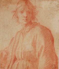 Studio di figura di giovinetto, Matteo Rosselli (attr.) 1578–1650, Sanguigna su carta | Collezione Antonio Sozzani