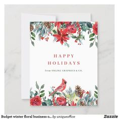 Budget winter floral business office holiday card Christmas On A Budget, Christmas Photo Cards, Christmas Photos, Holiday Cards, Happy Holidays, Christmas Holidays, Unique Office Supplies, Green Watercolor, Holly Berries