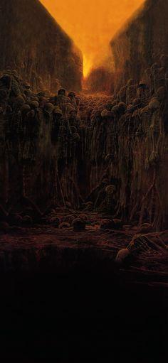 Untitled - Zdzisław Beksiński [1080 x 2340] Arte Horror, Horror Art, Depressing Paintings, Horror Monsters, Grunge Art, Creepy Art, Dark Fantasy Art, Surreal Art, Art Inspo