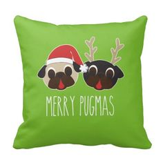 Merry Pugmas Christmas Pillow  - Reindeer & Santa Pugs