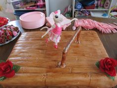 Angelina Ballerina cake for my daughters' 5th birthday.  Angelina was made out of gumpaste.