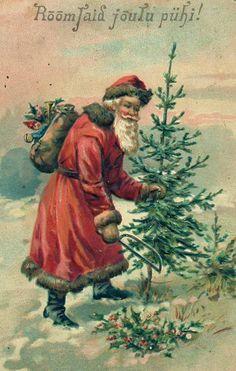 Santa with small tree.