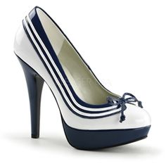 White Blue Sailor Pin Up Shoes Vintage Inspired High Heels 1950s Style