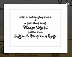 """Von.G Art: Original Saying/Quote """"With A Butterfly Kiss & A Ladybug Hug, Sleep Tight Little One, Like A Bug In A Rug (baby)"""" Black & White Double-Matted Sharpie Drawing Artwork (8x10). Perfect gift for a daycare sitter, new mommy, new daddy, grandma, baby girl/boy room, etc! The BLACK Sharpie-drawn artwork is heat-processed (to make the drawing lines solid) onto heavy 80lb/97 bright WHITE archival-quality/acid-free paper & arrives to you double-matted in WHITE, signed by the artist &..."""