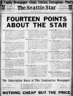 14 Points War i - Fourteen goals of the United States in the peace negotiations after World War I. President Woodrow Wilson announced the Fourteen Points to Congress in early 1918.