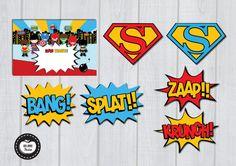SUPERHERO Party Pack 60 PIECES Party Package por RedAppleStudio