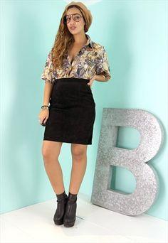 Black High Waisted Suede Mini Skirt - SS0511152