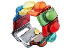Bracelet cabochons Florence en résine, élastique, multicolore Dominique Denaive