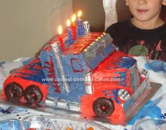 Homemade Optimus Prime Truck Birthday Cake: I made this Homemade Optimus Prime Truck Birthday Cake for my son's 4th birthday. He loves Transformers. I thought about just ordering a cake topper, but