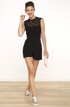 Combishort detail dentelle noir - robes femme - naf naf 1