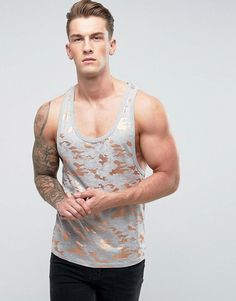 ASOS Extreme Racer Back Tank With All Over Gold Metallic Camo Print -