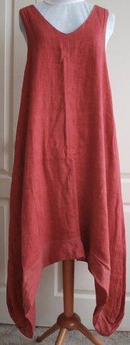 COMPLETO LINO ARTHURIO quirky asymmetric LINEN balloon dress LAGENLOOK M 16 UK | eBay