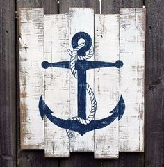 Nautical Hand Painted Distressed Reclaimed Wooden Anchor Sign