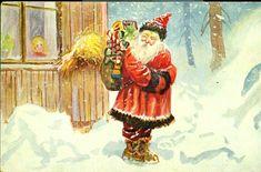 Julekort Otto Moe . Nisse med pakker foran husvindu Utg Mittet & Co,, postgått 1931