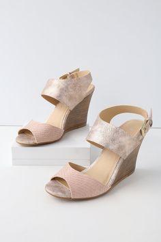 2c4d753de00 Brinn Blush and Rose Gold Wedges Sandals