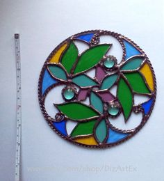 Round Pendant Spring time. Floral. Suncatcher. Stained by DizArtEx