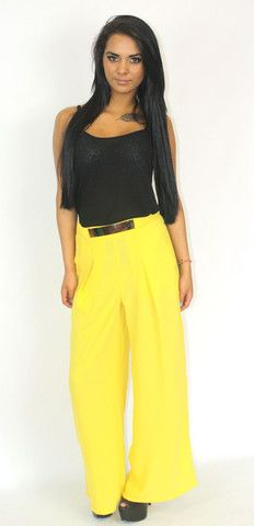 Tailored yellow palazzo pants with gold belt