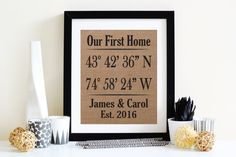 """Custom made GPS Home Coordinates burlap art print Personalize with your coordinates, names and date to make a unique one of a kind piece.  **Burlap print ONLY **Due to high shipping costs frames are no longer available ♦About my prints♦ Prints measure 8""""x10"""" and are made using high quality tight weave burlap that is attached to a natural colored backing for sharp clean prints that don't unravel. They are printed with a pigment based ink that is fade and smudge resistant. My prints are made…"""